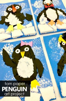 Torn paper penguin craft. Winter art project for kids