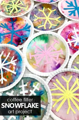 Coffee filter snowflake art projects. Winter art activity for kids