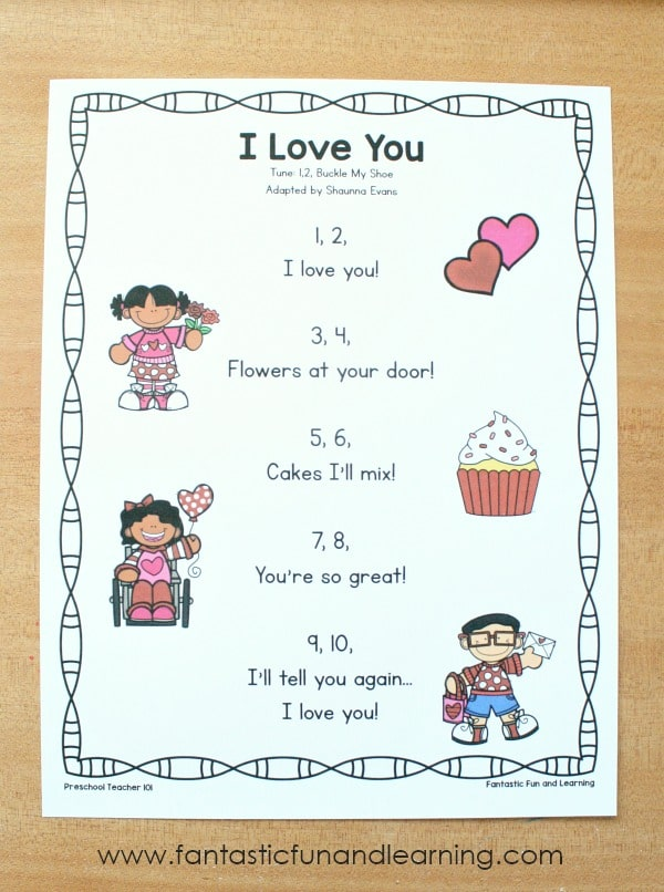 Free printable I Love You Preschool Valentine's Day Song