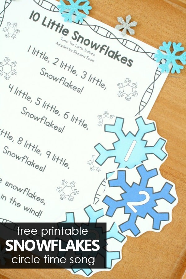 Free Printable Circle Time Snowflake Song for Preschool