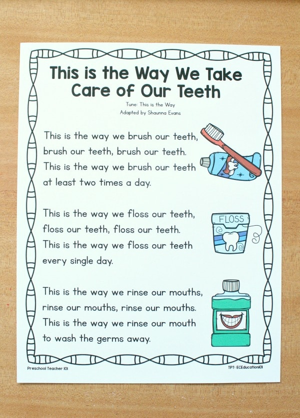 Free Printable February Preschool Song for Dental Health Month