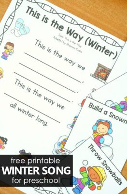 Free Printable Preschool Winter Circle Time Song