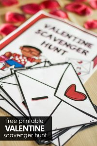 Free printable Counting Valentines Scavenger Hunt for Preschool and Kindergarten Valentine's Day Math Activities