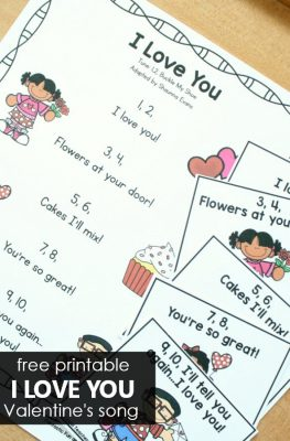 Free printable I Love You Valentine's Day Song for Preschool and Kindergarten
