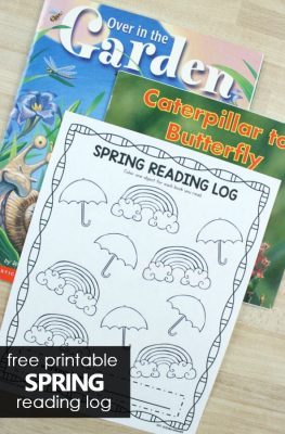 Free printable spring reading log for preschool and kindergarten