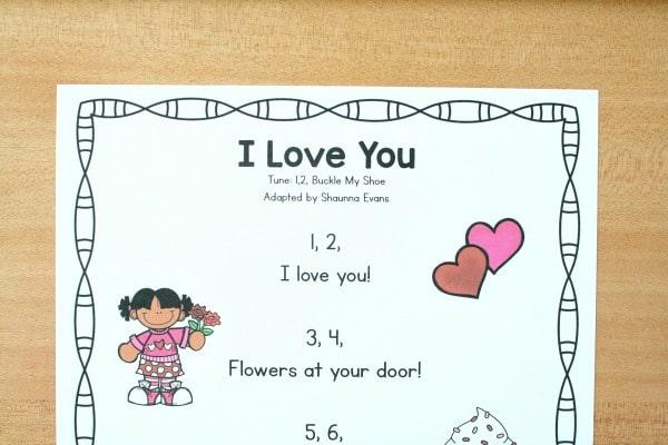 Preschool I Love You Song Printable