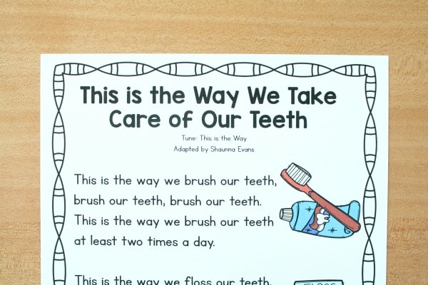 Preschool Song Freebie for Dental Hygiene-This is the Way We Brush Our Teeth