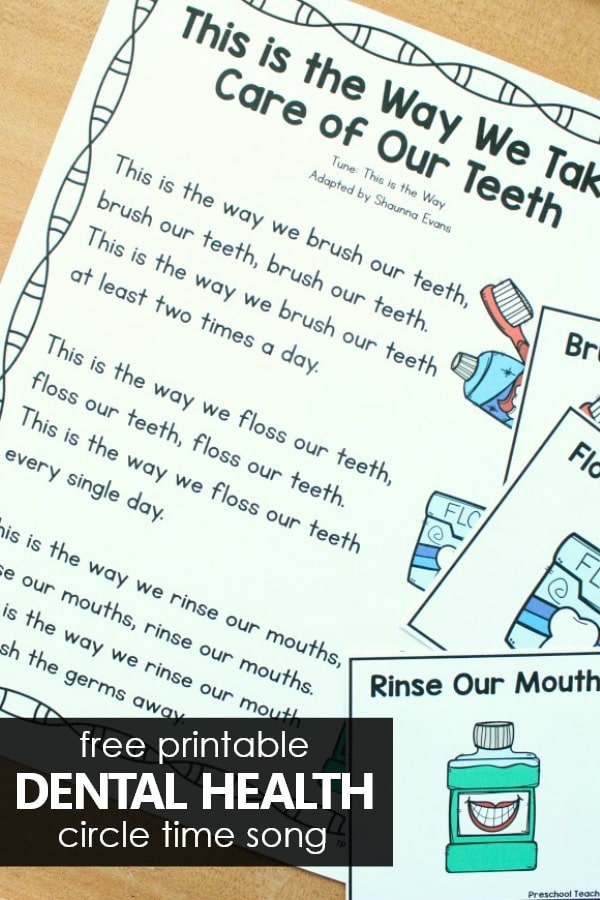 This is the Way We Take Care of Our Teeth Dental Hygiene Circle Time Song for Preschool and Kindergarten