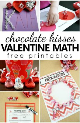 Valentine Math with Chocolate Kisses. Free printable sorting, counting, graphing and measuring activities for preschool, kindergarten, and first grade