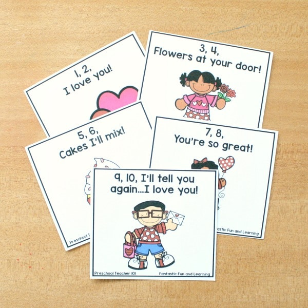 Valentine Song Cards for Preschool Circle Time