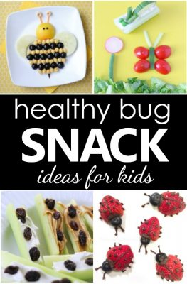 Bug Theme Healthy Bug Snacks for Kids. Spring snack ideas for food art fun with kids.