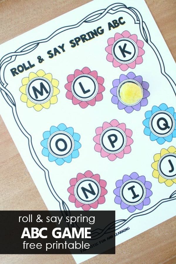 Free printable roll and say spring ABC game. ABC activity for preschool and kindergarten
