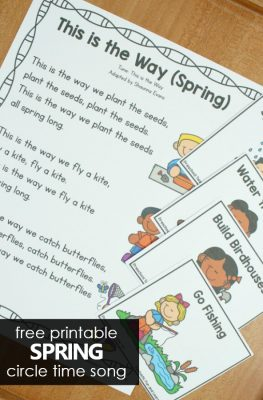 Free printable spring preschool circle time song and movement activity