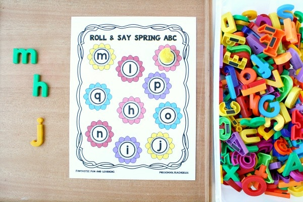 Free printable roll and say spring ABC game