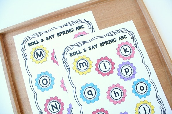 Free printable roll and say activity for preschool and kindergarten