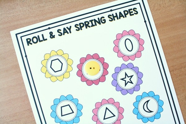 Roll and Say Spring Shapes 2D shape game