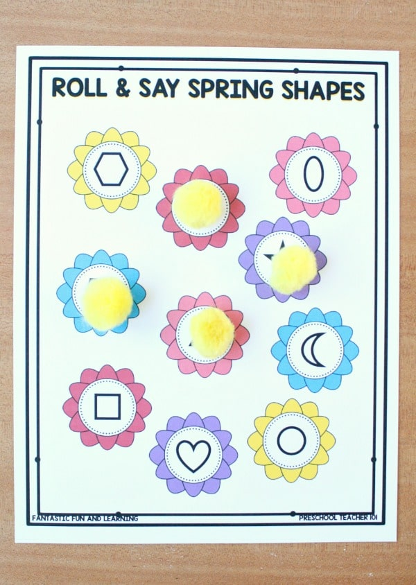 Roll and Say Spring Shapes-Cover on a second sheet to track shapes landed on