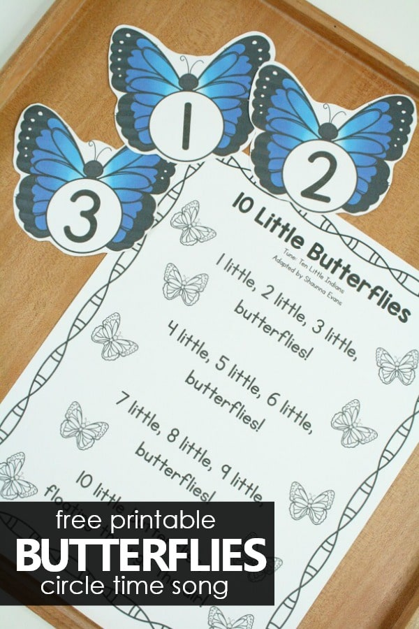 10 Little Butterflies Free Printable Preschool Circle Time Song