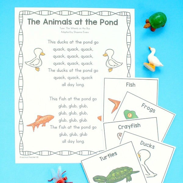 Animals at the Pond Preschool Circle Time Song and Activities