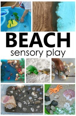 These creative beach sensory bins and small worlds are a fun way to set up beach sensory play activities for preschoolers during summer theme activities.