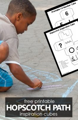 Create your own chalk hopscotch path for fun outdoor play and community building neighborhood social distancing activity. Free printable hopscotch inspiration cube included #hopscotchpath