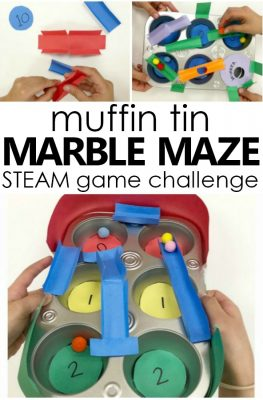DIY muffin tin marble maze game STEM challenge for kids. Fun collaborative STEAM activity for kids.