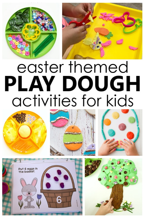 Easter Play Dough Activities with Easter theme play dough invitations and Easter play dough printables for kids