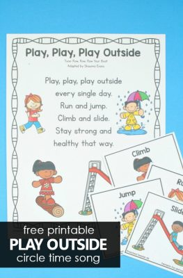 Free Printable Play Outside Circle Time and Transitions Movement Song for Preschoolers