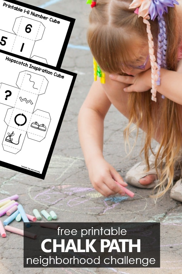 Free printable chalk hopscotch path neighborhood community building challenge #hopscotchpath Outdoor play ideas for kids during school closures and pandemic social distancing