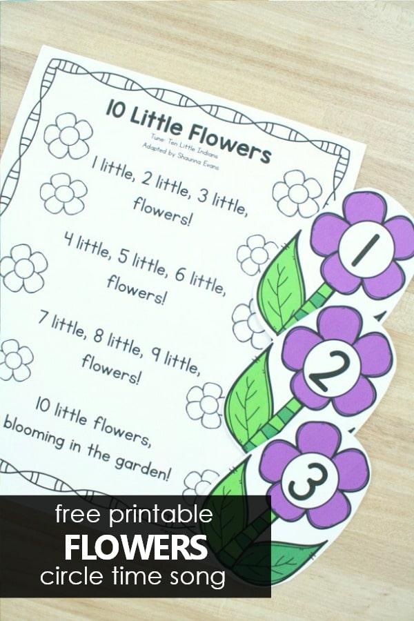10 Little Flowers Preschool Circle Time Song Free Printable