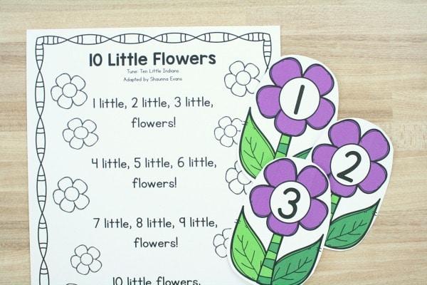 Free 10 Little Flowers Preschool Circle Time Song Printable