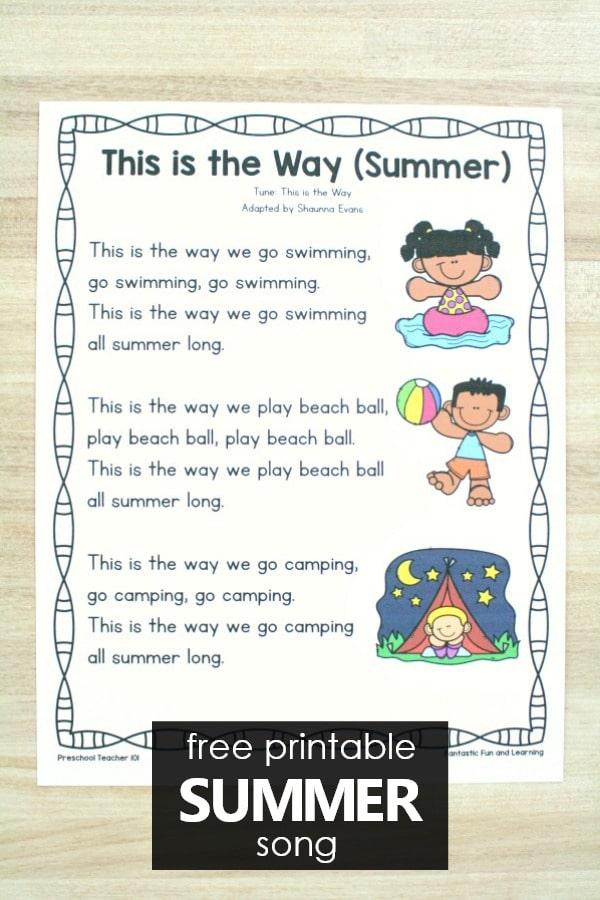 Free Download-Preschool Summer Song