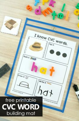 Free Printable CVC Word Building Mat Short Vowel Phonics for Kindergarten and First Grade