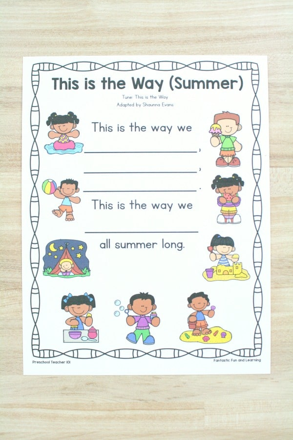 Free Printable Summer Song for Preschoolers