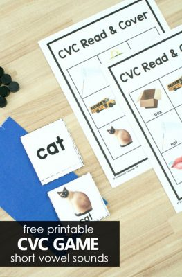 Free printable CVC Word Game to practice short vowel sounds in kindergarten and first grade