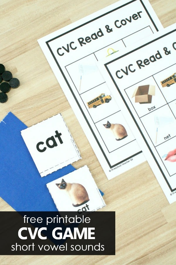Free printable CVC game short vowel sounds
