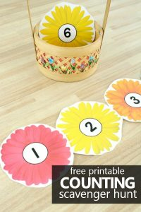 Free printable spring flowers counting scavenger hunt for indoor our outdoor play and spring math fun