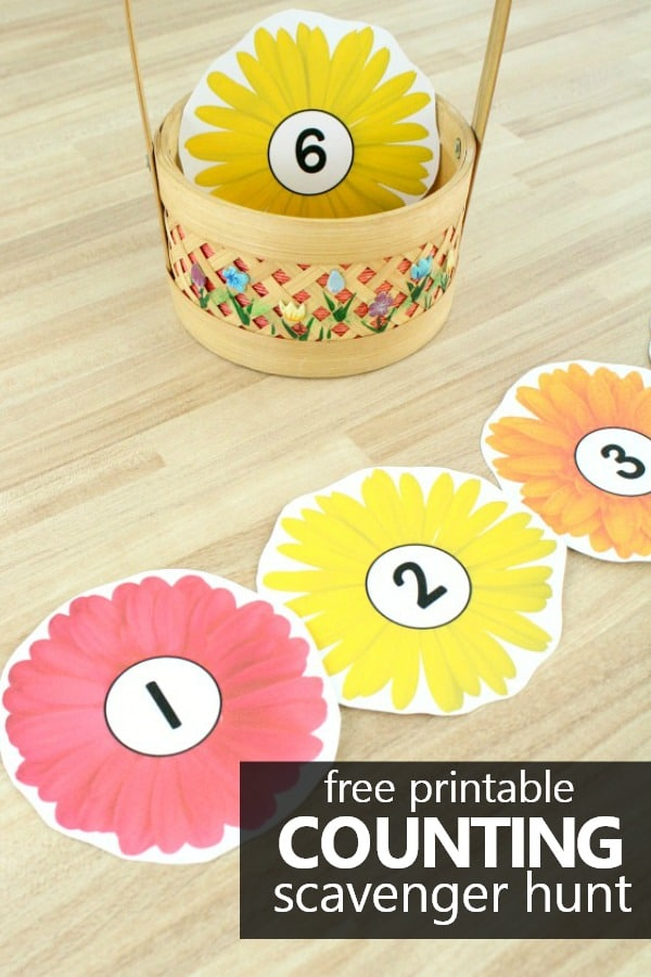 Get kids up and moving as they practice counting numbers to 20 in this free printable counting flowers scavenger hunt for preschool and kindergarten.
