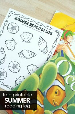 Free printable summer reading log for preschool and kindergarten