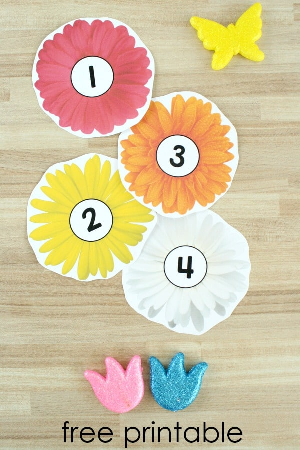 Free printable counting flowers scavenger hunt and math activity