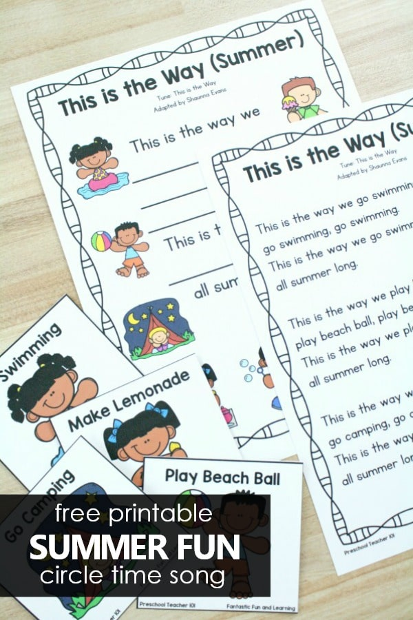 Free printable summer preschool circle time song for preschool summer theme activities