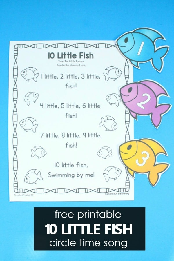 10 Little Fish Preschool Circle Time Song and Counting Activities