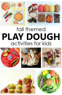 Try one of these fun fall play dough activities with kids to encourage pretend play and sensory exploration during autumn in preschool and kindergarten.