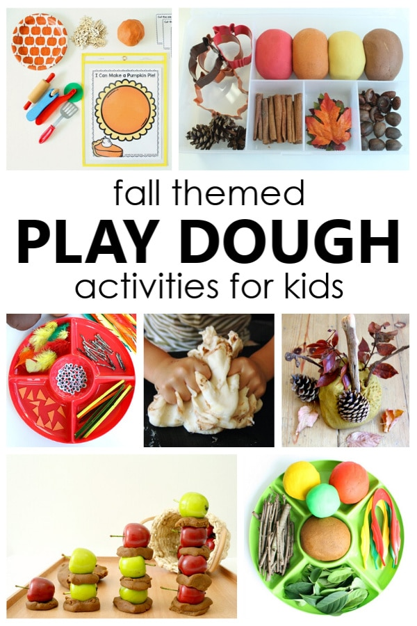 Fall play dough activities and fall play dough recipes for preschool and kindergarten fall sensory play