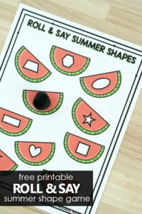 Free printable Roll and Say Summer Shape Game. Watermelon Shapes Math Activity for Preschool and Kindergarten