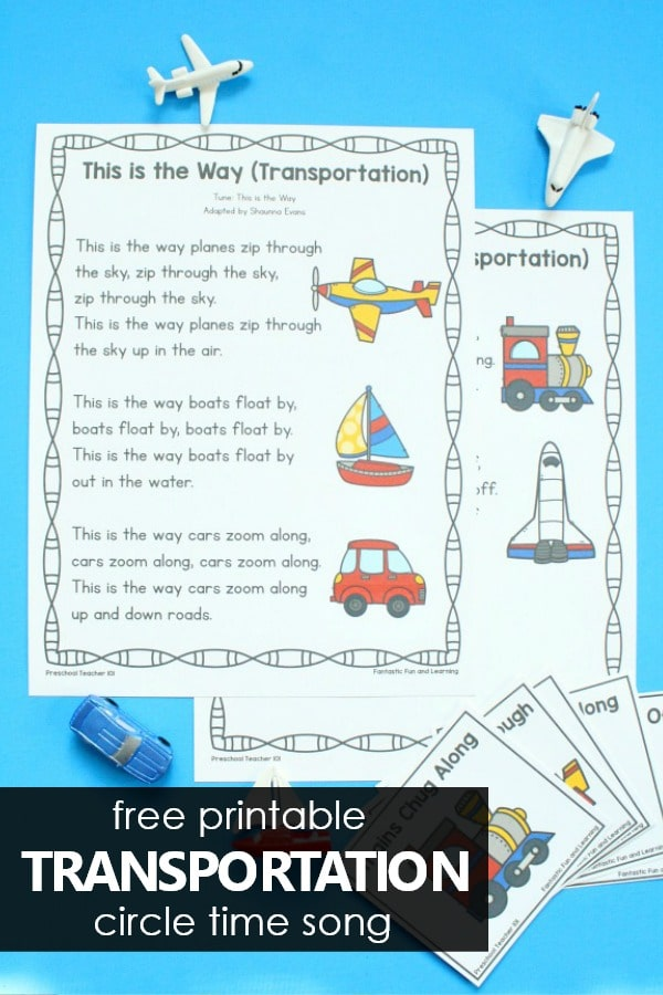 Free Printable Transportation Circle Time Song for Vehicle Theme