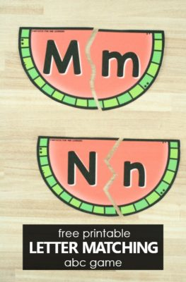 Free printable Watermelon Letter Matching ABC Game for Preschool and Kindergarten Summer Alphabet Activities