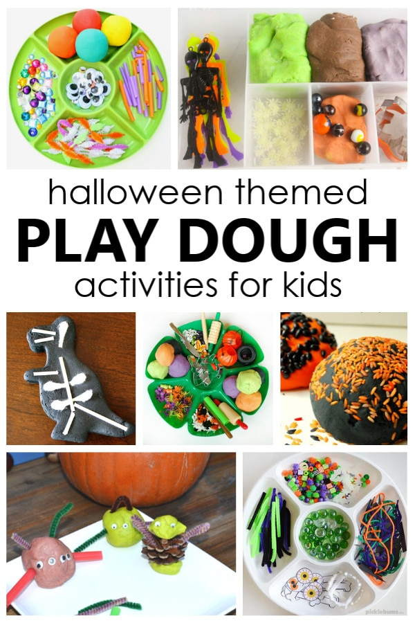 Halloween Play Dough Activities. Create a fun Halloween sensory play invitation with these creative Halloween play dough activities for preschool and kindergarten.