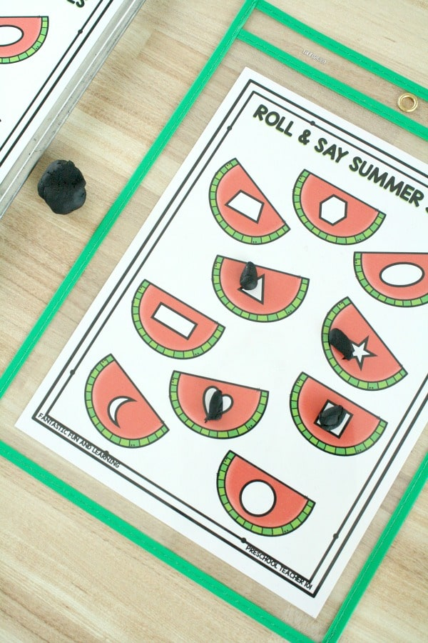 Free Printable Watermelon Roll and Say Shape Game
