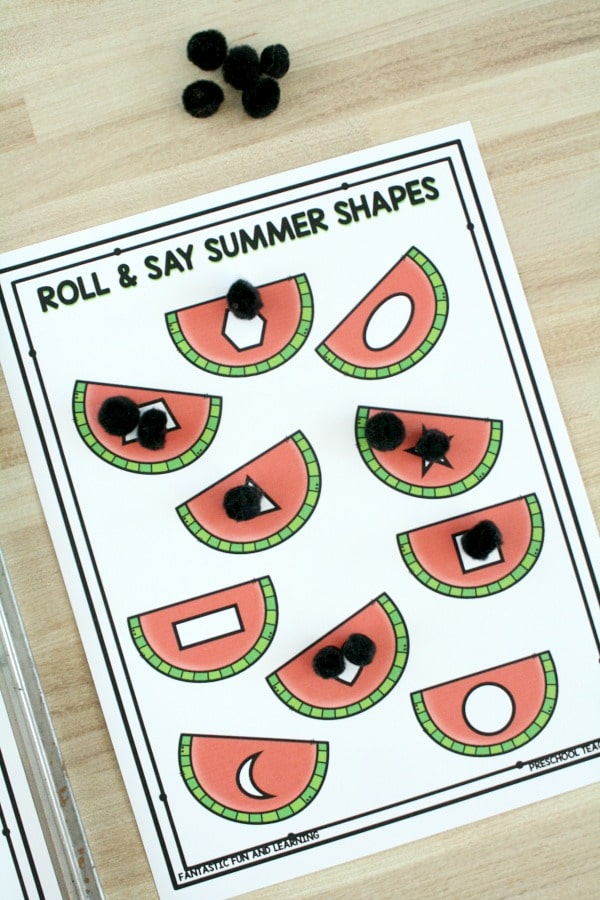Free Printable Roll and Say Summer Shape Game